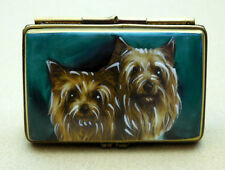 YORKSHIRE TERRIER PAIR ON AUTHENTIC ROCHARD LIMOGES-FRANCE, ITEM #50-141