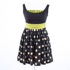 Black ivory polka dot COREY LYNN CALTER green trim sleeveless A-line dress 0