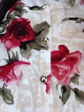 CARDIGAN SWEATER FLORAL ROSE 🌹 PRINT RED ECRU Sz L New WHITE HOUSE BLACK MARKET