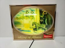 Rare Budweiser Clydesdale Horse Lighted Sign 3d Bubble Dome Display King of Beer