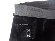 CHANEL Black Velvet Crystal CC Footless Tight Leggings Medium Skinny Pants NWT