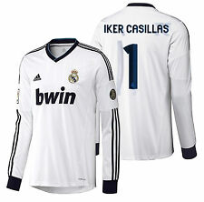 ADIDAS IKER CASILLAS REAL MADRID LONG SLEEVE HOME JERSEY 2012/13.
