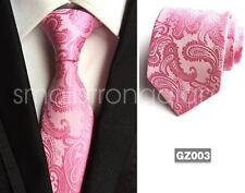 Classic Pink Mens Tie Necktie Wedding JACQUARD WOVEN Tie Party gift