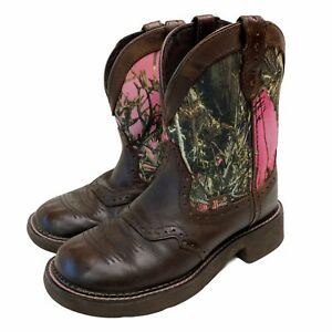 Justin Boots Gypsy Womens size 7B Pink Camo Aged Bark Leather Canvas L9610