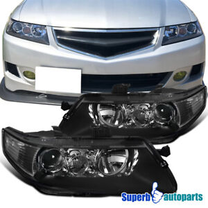 For 2004-2005 Acura 04-05 TSX Headlights Projector Head Lamp Black
