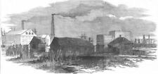 LONDON. Hale's Rocket Factory, at Rotherhithe, antique print, 1853