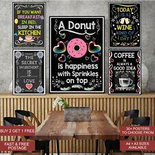 Inspirational Motivation Quotes Kitchen Prints Poster Wall Art Decor Chalk A4 A3