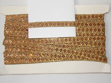 1m hotfix gold crystal indian arabic paisley braid beaded lace bridal wedding