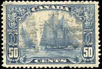 "Stamp Canada Used 1929 50c VF Scott #158 ""Bluenose"" King George V Scroll"