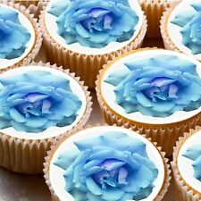 24 Edible cake toppers decorations Blue Rose flower wafer rice paper