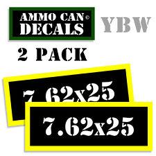 7.62 X 25 Ammo Label Decals Box Stickers decals - 2 Pack BLYW
