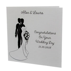 Handmade Personalised Congratulations On Your WEDDING DAY Greetings Card