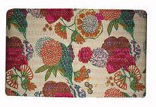 Handmade Quilt Beige Kantha Bedspread Throw Cotton Queen Blanket Indian Quilt
