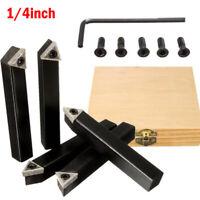 5Pc 1/4 Shank CNC Lathe Indexable Carbide Insert Turning Tool Bit Holder Set