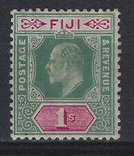 FIJI SG 112 1/- Green & Carmine  Mounted Mint Cat £ 17