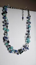 "925 CLASP 3 STRAND BRAIDED NECKLACE W/STONES/GLASS BEADS BLUE TONES 19"" L"