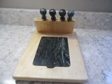 SABATIER Cheese Board Wood w/ Green Marble Inset & 4 Cutting Serving Tools
