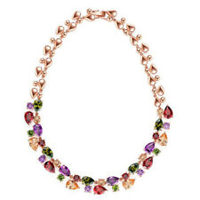 Mona Lisa Natural Peridot Amethyst Morganite Rose Gold Plated Charm Necklace New