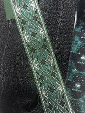 10 yds Awesome Jacquard Ribbon Trim ,Emerald/Hunter/Silver 7/8� Wide Beautiful