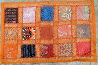Tenture indienne Orange Dessus de table Tapis mural Patchwork fait main Inde O2