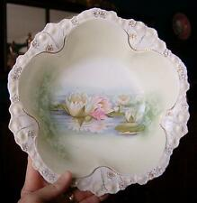 LOVELY R.S. PRUSSIA WATER LILY LOTUS MOTIF SCALLOPED EDGE BOWL