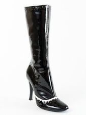 New Casadei Black & White Patent Leather  Boots Size 36 US 6