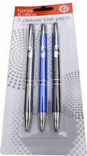 New Pack of 3 x Deluxe Ball Point Pens 2 x Black & 1 x Blue
