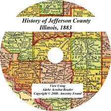 1883  JEFFERSON County Illinois IL - History Genealogy Ancestry Family - CD DVD