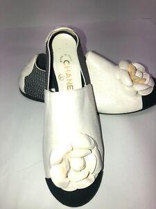 CHANEL Leather Camellia Flower Flats Espadrilles Shoes Women's sz 40/US 9