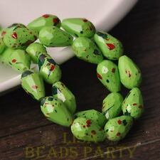 New 8pcs 15X10mm Teardrop Faceted Dots Loose Glass Spacer Beads Green