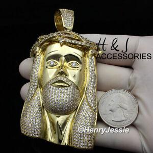 MEN 14K GOLD FINISH ICY DIAMOND OVERSIZE 3D GOLD JESUS FACE PENDANT*ABGP4