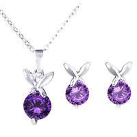 Silver and Purple Butterflies Zircon Jewellery Set Stud Earrings & Necklace S656
