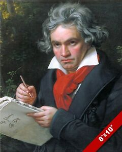 BEETHOVEN PORTRAIT CLASSICAL MUSIC COMPOSER PAINTING REAL CANVAS ART PRINT