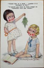 Gwen Hayward Young/Artist-Signed 1929 Postcard: Girls find Eve's Leaf in Book