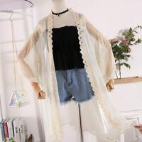 Summer Lady See-through Lace Chiffon Long Top Cardigan Coat Outwear Beach Casual