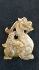 "Old Winged Dragon w/ Double Heads Amulet Nephrite Jade Fine Details 2 1/4""."