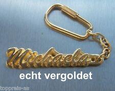 EDLER SCHLÜSSELANHÄNGER MICHAELA ECHT VERGOLDET GOLD NAME KEYCHAIN KEYRING NEU