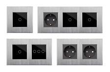 Touch Aluminium Glas Lichtschalter Steckdosen USB HDMI Silber/Schwarz POINT