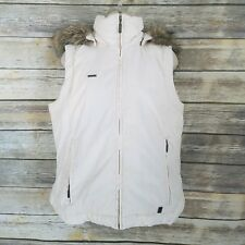 Columbia XCO M Hooded Down Puffer Vest Ivory Faux Fur Removable Hood Womens