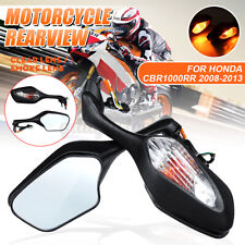 Motorcycle Rear View Side Mirrors w/ Turn Signal Light For Honda CBR1000RR 08-13