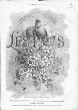 Les Mois Fleurs Abeilles Oiseau Giacomelli Poésie François Coppée GRAVURE 1876