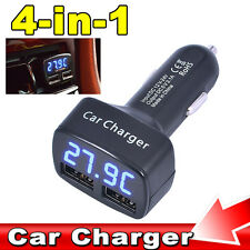 Dual Ports 3.1A USB Car Cigarette Charger Lighter 12V/24V Digital LED Voltmeter