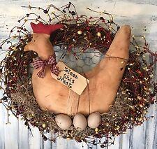 18 Inch Primitive Country Oval Grapevine Farmhouse Chicken Wreath