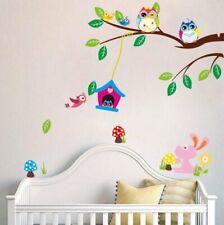 Wandtattoo ZooYoo Wandsticker Vogelnest Eulen Tiere dekorativ Kinderzimmer XL 35