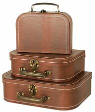 Vintage Suitcases Luggage Travel Set Antique Trunk Chest Box Bag Storage, 3 Sets