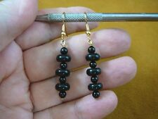 (EE-471-13) smooth beaded Black onyx Brazil gemstone dangle gold wire earrings