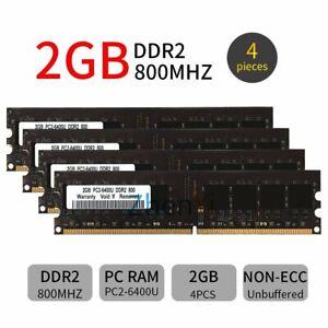 8GB Kit 4x 2GB DDR2 PC2-6400U 800MHz 240Pin DIMM intel Desktop Memory RAM Black