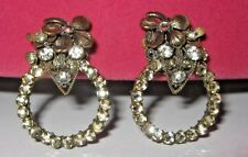 Antique Vintage Miriam Haskell Designer Clip On Costume Jewelry Earrings