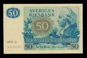 SWEDEN 50 KRONOR 1979 G PICK # 53c AU-UNC.