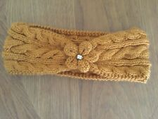 Unique Handknitted Ladies Cable Earwarmers Headband In Mustard One Size